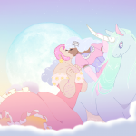 Knightess on a moon unicorn