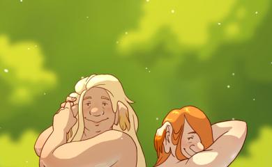 thumbnail of Two slattenpatte bathing