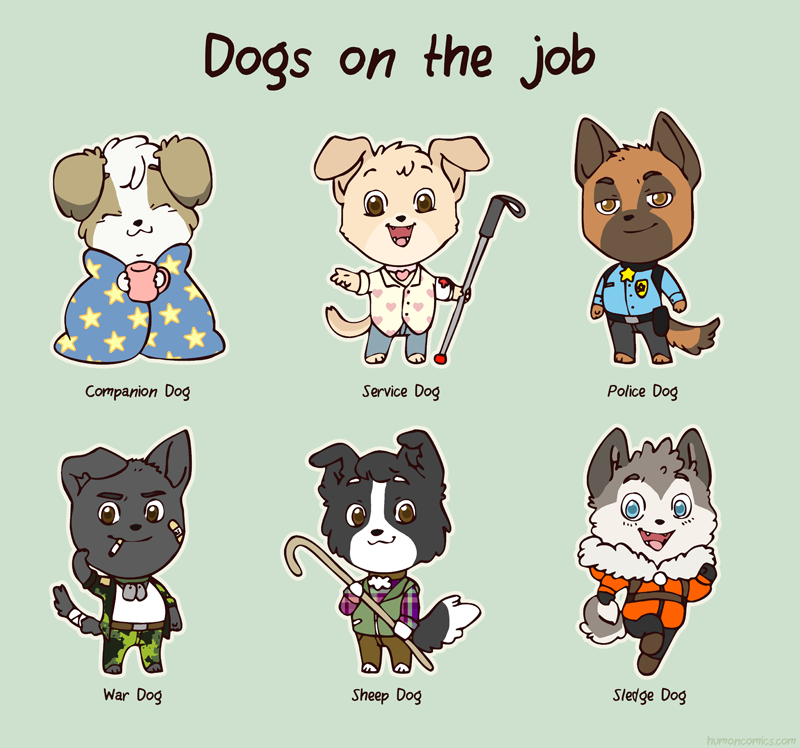 Dogs on the job HumonComics.com