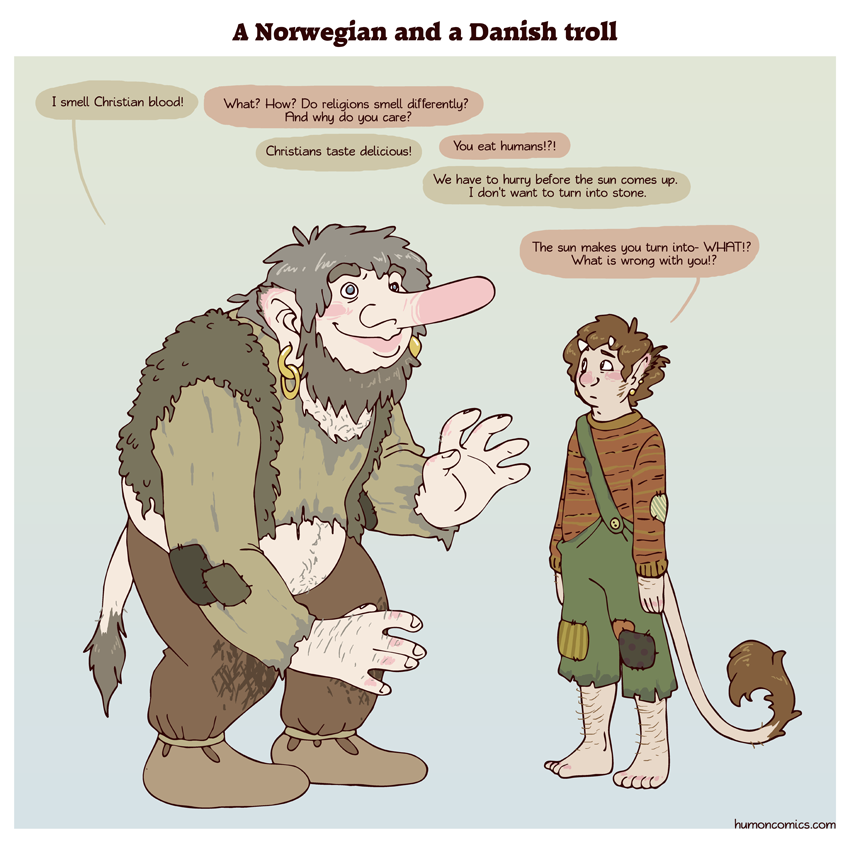 Norwegian and Danish trolls HumonComics.com