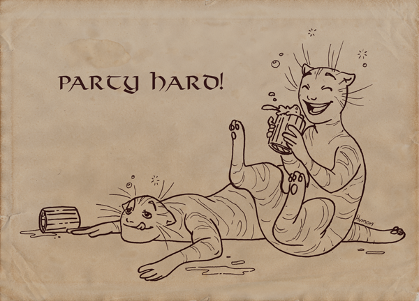 Party Hard Cat People HumonComics.com